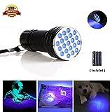 HHD® 21LED UV torcia Ultra Viola portatile, lampada tascabile, 395nm UV, per plotter fluorescenti/urina e di macchie di animali/Tappeto/verifica della moneta, 3batterie AAA incluse [classe energetica A +]
