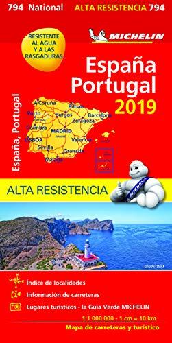 Carte Portugal, Espagne Indéchirable Michelin 2019 par Michelin