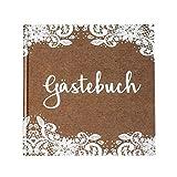 Gästebuch zur Hochzeit Kraft mit Weißer Spitze Kraftpapier Braun Weiß 21 x 21 cm, 144 Seiten Weißes Papier Blanko Vintage Boho