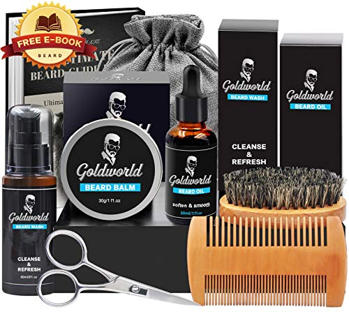 Bartpflegeset mit kostenlosem Bartshampoo, Bartkamm, Bartbürste, Bartöl, Bartbalsam, Bartschere und feuchtigkeitsspendenden Bartpflegemitteln