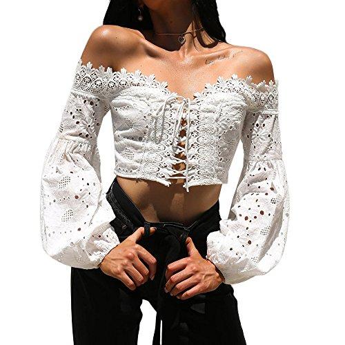 TUDUZ Pullover Tops Damen Elegant Langarm Schulterfrei Hohle Spitze Lose Bluse T-Shirt (Weiß, XL)