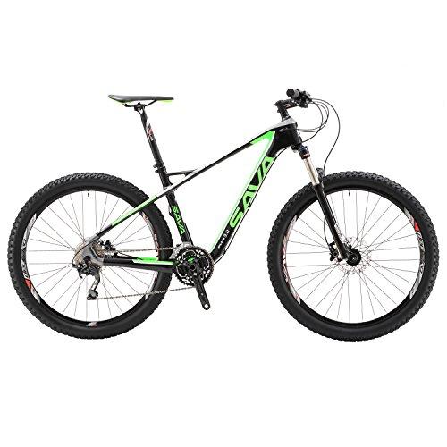 "SAVA 27.5""Bicicleta de Montaña de Fibra de Carbono MTB 30-Velocidad Shimano M610 DEORE Hard Tail Bicicleta Manituo Horquilla de Suspensión Mountain Bike Maxxis Neumáticos (Negro & Verde)"