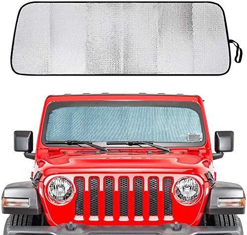 znwiem Frontscheibe Sonnenschutz Hitzeschutz Aluminiumfolie Sonnenblende Matte für Jeep Wrangler JL JLU 2018 2019