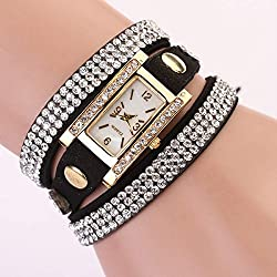 Zeagoo® Womens Vintage Weave Multilayer Square Dial Faux Leather Wrist Watch