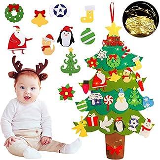 Árbol de Navidad para Niños, FunPa Navidad Decoración colgante para puerta de pared Navidad Regalo para niños con Adornos Extraíbles
