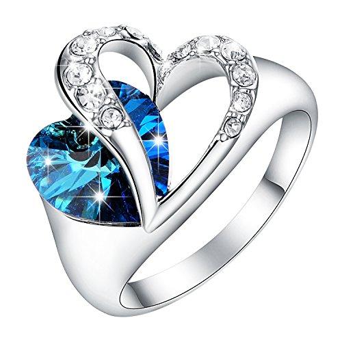 [oceano amore] yoursfs hollow attraversato amore cuore zirconi zaffiro anello chiaro cz anelli di fidanzamento squisiti regali per le donne