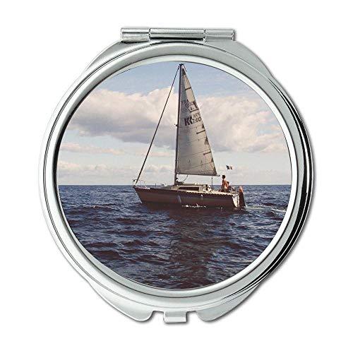 Spiegel, Compact Mirror, Abenteuer Strand Boot, Taschenspiegel, tragbarer Spiegel