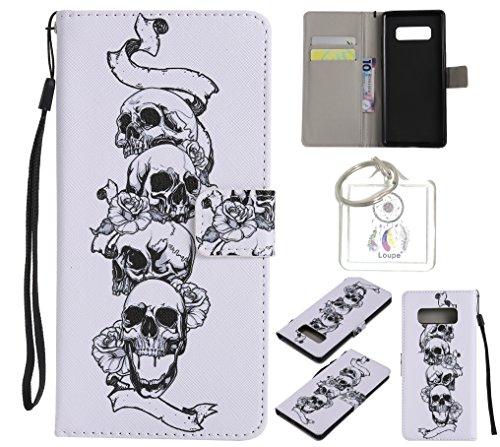 Preisvergleich Produktbild für Galaxy Note8 PU Wallet Case Schutz Hülle für Galaxy Note8 - Cover Flip Tasche mit Kartenfach in Buch Stil mit Kartenfach Standfunktion Magnetverschluss und Hand Wrist +Schlüsselanhänger (O) (12)
