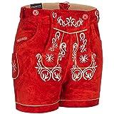 PAULGOS Damen Trachten Lederhose + Träger, Echtes Leder, Kurz in 8 Farben Gr. 34-50 M2, Farbe:Rot, Damen Größe:46