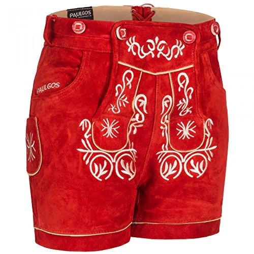 PAULGOS Damen Trachten Lederhose + Träger, Echtes Leder, Kurz in 8 Farben Gr. 34-50 M2, Farbe:Rot, Damen Größe:40