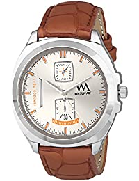 Watch Me Analog White Dial Brown Leather Strap Quartz Watch For Men And Boys WMAL-328bys