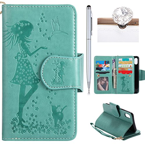 Coque iPhone X Cuir,iPhone X Coque Portefeuille,iPhone X Case Wallet PU Cuir Retro Etui Folio Housse Leather Case Wallet Flip Protective Cover Etui et TPU Silicone Inner Case Portefeuille 3D en Relief 9 credit card slots Vert