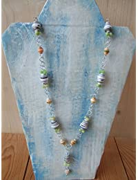 Handmade by Mimi Pinto Paper Bead Necklace