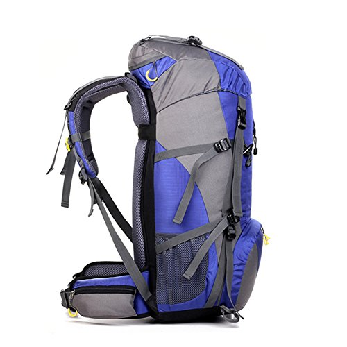 50L Rucksack Wasserdicht Outdoor Sport Wandern Trekking Camping TravelMountain ClimbingKnapsack mit Regen Cover60 x 30 x 20CM Blau