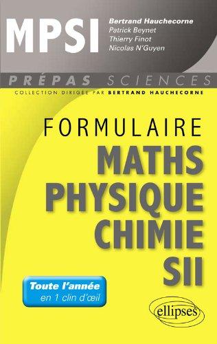 Formulaire Mathmatiques Physique Chimie SII MPSI
