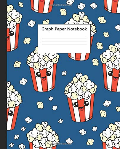 Graph Paper Notebook: Quad Ruled 5 x 5 (.20'') Graphing Paper Composition Book for Math & Science Students, 5 Squares per Inch, Large - Cute Kids Popcorn cartoon for Boys & Girls.