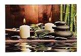 Wunderschönes und Modernes LED Bild Wandbild Kerze mit Bambus und Steine Feng Shui 60x40cm
