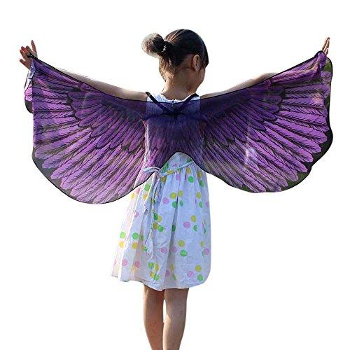 Dress Fancy Lila Schmetterling Kostüm - HLHN Halloween Party Umhang, Hexe Zauberer Chiffon Karneval Fasching Kostüm Umhang Kap Robe für Kinder (Lila)