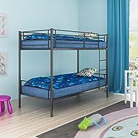 Children's Bunk Bed Frame Sleeping Bedrrom Double 2 People 200x90 cm Metal Black