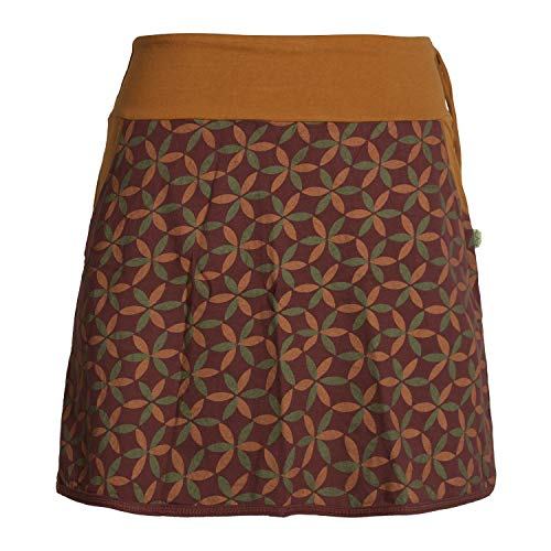 Vishes - Alternative Bekleidung - Damen Baumwoll-Rock, 70er Jahre Retro Facetten, Blumen-Druck, Taschen dunkelrot 40