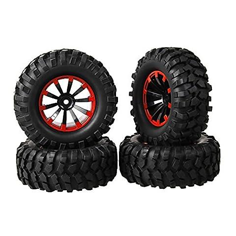 SkyQ 110RC Auto Rad und Reifen für On Road Flache Racing Fernbedienung Auto mit Schwamm 12-mm-Durchmesser 9,6cm/96mm Kunststoff Felgen Gummi Reifen (4Stück)