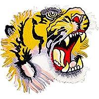 iTemer 1 Pieza Exquisito patrón de Tigre Estilo Tela Pegatinas Ropa Bolsa decoración Apliques Bordado Tela Pegatinas 22.5cm*20cm