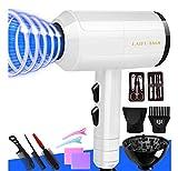 Asciugacapelli e accessori ionici super leggeri for prestazioni da salone, asciugacapelli da 2000 W, con protezione da surriscaldamento, bianco (Color : White)
