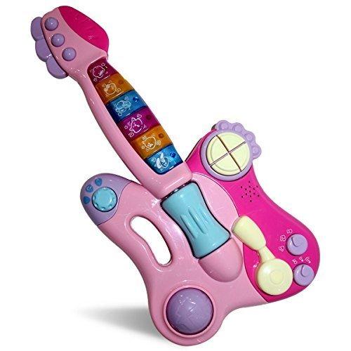 GALOOK Pädagogisches Spielzeug für Kinder E-Gitarren-Mischpult für Kinder Pinke Multifunktions-Musikinstrumente - beinhaltet 42 Melodien und Schlagzeug und 3 Spielmodi Sowie Pop & Rock & Blues (Musikinstrument Akkord)