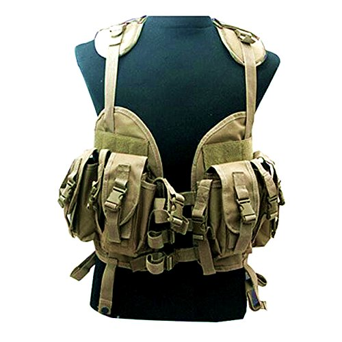 elegantstunning Unisex Military Tactical Water Bag Pack Modular Chest Rig Camouflage Schutzweste, Braun