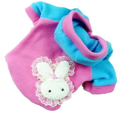 Zehui Pet Puppy Dog Warm Rabbit Coat Clothes Hoodie Hooded T Shirt Coat Costume Pink S