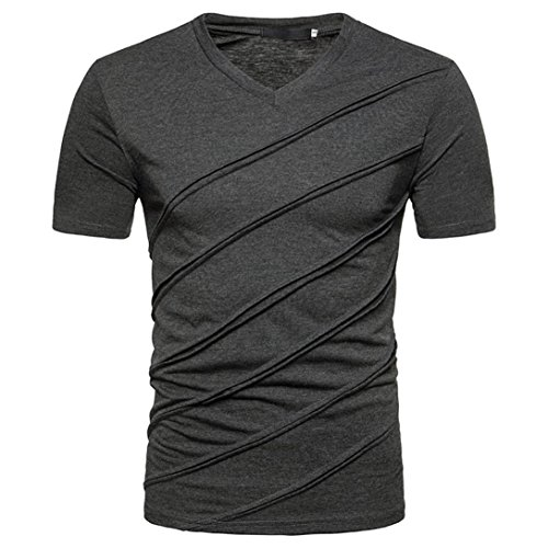 ASHOP Mode Persönlichkeit Männer Casual Schlank Solide Kurzarm T-Shirt Reisen Sweatshirt Tops Bluse (L, Dunkel Grau)