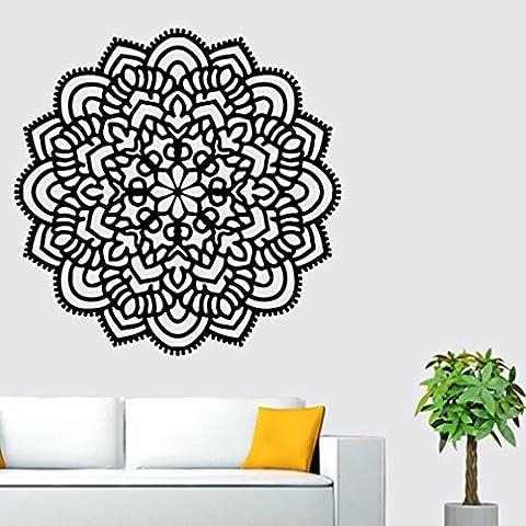 Mandala Blume Indischen Wandaufkleber,Huihong Hauptdekoration Schlafzimmer Wandabziehbild Kunst Aufkleber Wandmalerei Vinyl Vinyl FüR Schlafzimmer / Wohnzimmer / Esszimmer (Schwarz)