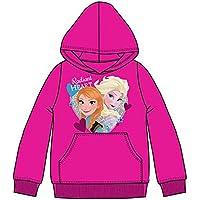Frozen Disney - Elsa e Anna - Felpa con Cappuccio e 2 Tasche a Marsupio - Bambina - Novità Prodotto Ufficiale HO1505 [4 anni - 104 cm - Fucsia]