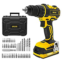 URCERI Brushless Electric Drill Driver 20V 2000RPM with 2-Speed Rotation Max Torque 48N.m 2.0A Li-on Battery Built-in LED Light Flexible Shaft 41 Pcs Accessories