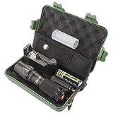 DOGZI Led Taschenlampe Set Verstellbar, Baumarkt Eisenwaren - X800 Zoomable XML T6 LED Taktische Polizei-Taschenlampe + 18650 Batterie + Ladegerät + Hülle