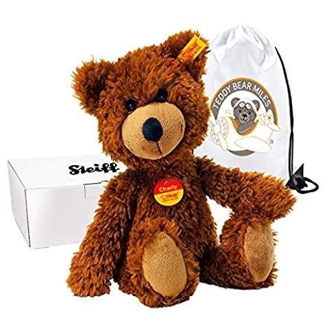 Number One Selling Authentic Steiff Charly Dangling Teddy Bear - Brown 30 cm and Reusable Gift Bag - Old Fashioned Style - Boy Boys Girl Girls Kids Children Child Just Because I Love You Gift Present Idea - Suitable From