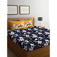 Portico new york marvella 144 tc cotton bedsheet with 2 pillow covers - abstract, bed linen queen size, (8045142 )-multicolor