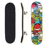 """Eseewin Skateboard 7 Layers Decks 31""""x 8"""" PRO Skateboard Completo in Legno d'Acero Longboard per Adolescenti Adulti Principianti Ragazzi Ragazze Bambini (Stardust)"""
