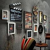 Complexe Ancien Mur de Photo, Cadre de Photo de Mur accrochant, Cadre Industriel de Retro de Style Industriel de PS Cadre de Combinaison, Horloge de Mur (62.5 * 30.7 Pouces),Noir et Blanc
