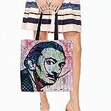 Cafetime Salvador Dali Leinwand wiederverwendbar Tasche 45,7x 45,7cm bedruckter Doppelter Seiten perfekt für Einkauf Laptop Schule Bücher