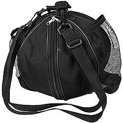 ZOORON portátil resistente al agua bolsillo de entrenamiento saco de bolsa de transporte de fútbol, baloncesto, voleibol caso de almacenamiento bolso con correa de hombro ajustable y laterales para botellas bolsa, negro