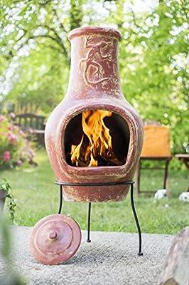 Aztec Lizard Copper Clay Chimenea Chiminea Patio Heater by La Hacienda Ltd