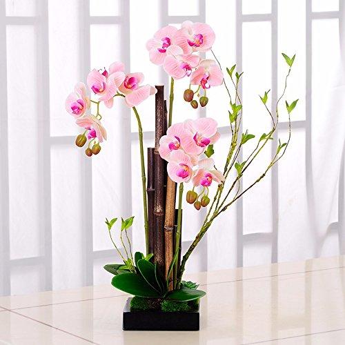 DSAAA Flores falsas macetas con plantas de orquídeas de flores artificiales para la decoración del hogar Rosa Set