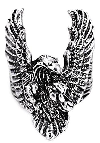 SaySure - Punk Finger Ring Antique Silver Eagle Men Ring (SIZE : (Mens Sterling Silver Eagle)
