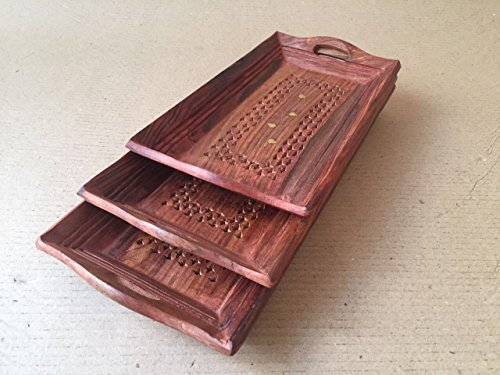 D'CORE CRAFTS Wooden Handcarved Coffee Tray Set Of 3 (18X10X4 Inches)