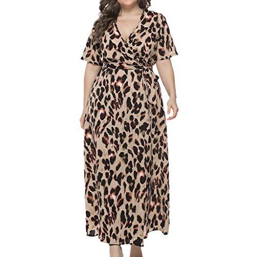 2c51d5465485f4 Obestseller Damen-Kleider Freizeitkleider für Damen Mode sexy Größe V- Ausschnitt Leopardenmuster Kurzarm-Kleid Damenbekleidung Mädchen Kleid Party