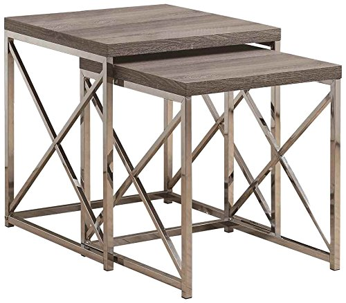 Monarch Reclaimed-Look/Chrom 2-teilig Satztische Nesting Tables, groß, Dark Taupe - Moderne Nesting Table
