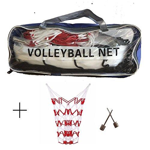 Standard Volleyball Netz (9.5x1 M) mit Mesh Net für Bälle Sammlung und 2 Stück Aufblasbare Nadel für Pool Garten Schoolyard Backyard Beach Indoor Outdoor