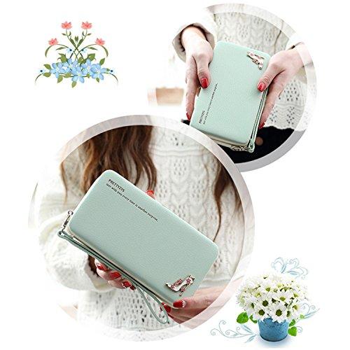 Portafogli da Donna Borsa con Diamante Bowknot Modello, Bonice Multifunzionale [Grande Capacità] Smartphone Wristlet Custodia Case Cover per Huawei Mate 9 / P10 / P10 Lite / P10 Plus / P9 / P9 Lite /  Elegant-Cover-01
