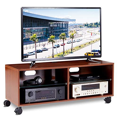 RFIVER TV Tisch Fernsehtisch Fernsehschrank Lowboard Board Couchtisch mit Rollen Rollbar Möbel Holz 110x40x44 cm in Nussbaum TS5002